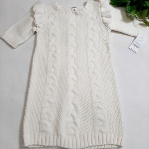 Carter's Ivory Ruffle Long Sleeve Cable Knit Dress